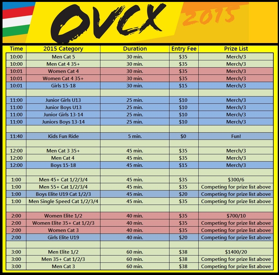 2015 OVCX Daily Schedule